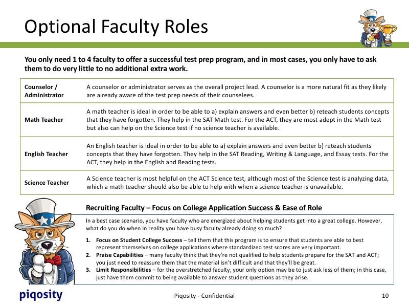 School Faculty Needed for Prep Course
