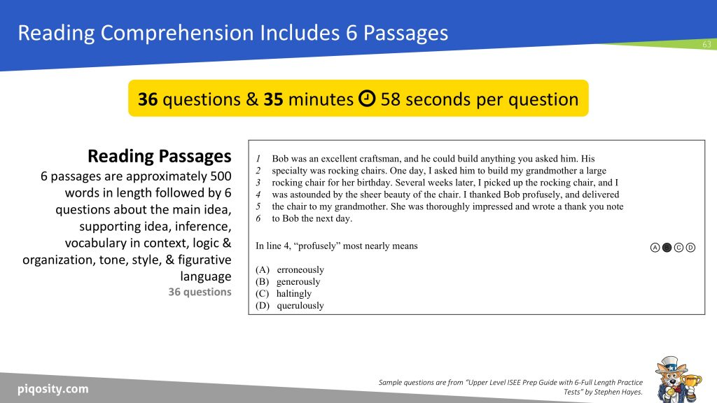 ISEE Reading Comprehension Section