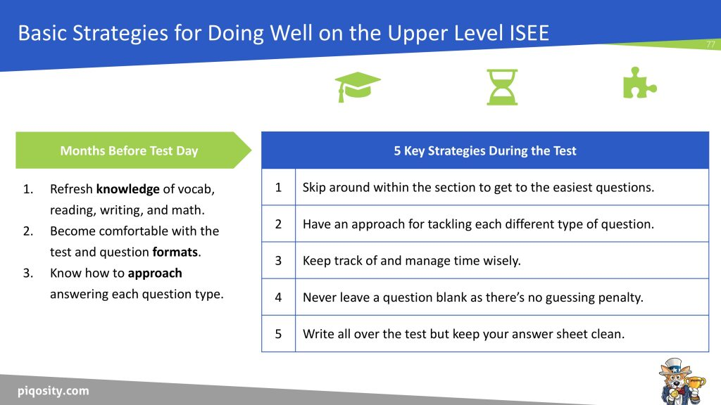 ISEE Preparation and Test Taking Strategies