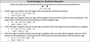 analyzing signs in a quadratic expression