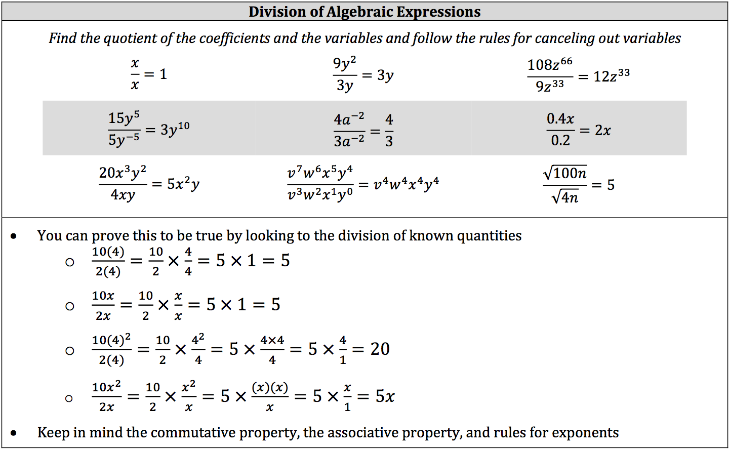worksheet Algebraic Expression isee math review operations on algebraic expressions piqosity division of expressions