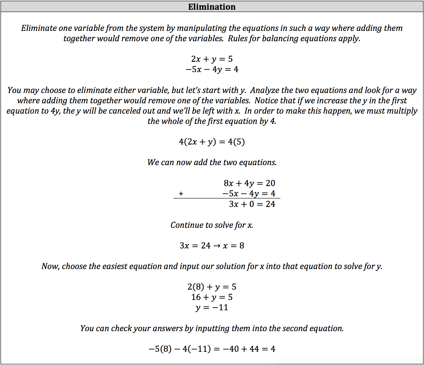 isee math review - system of linear equations: elimination and