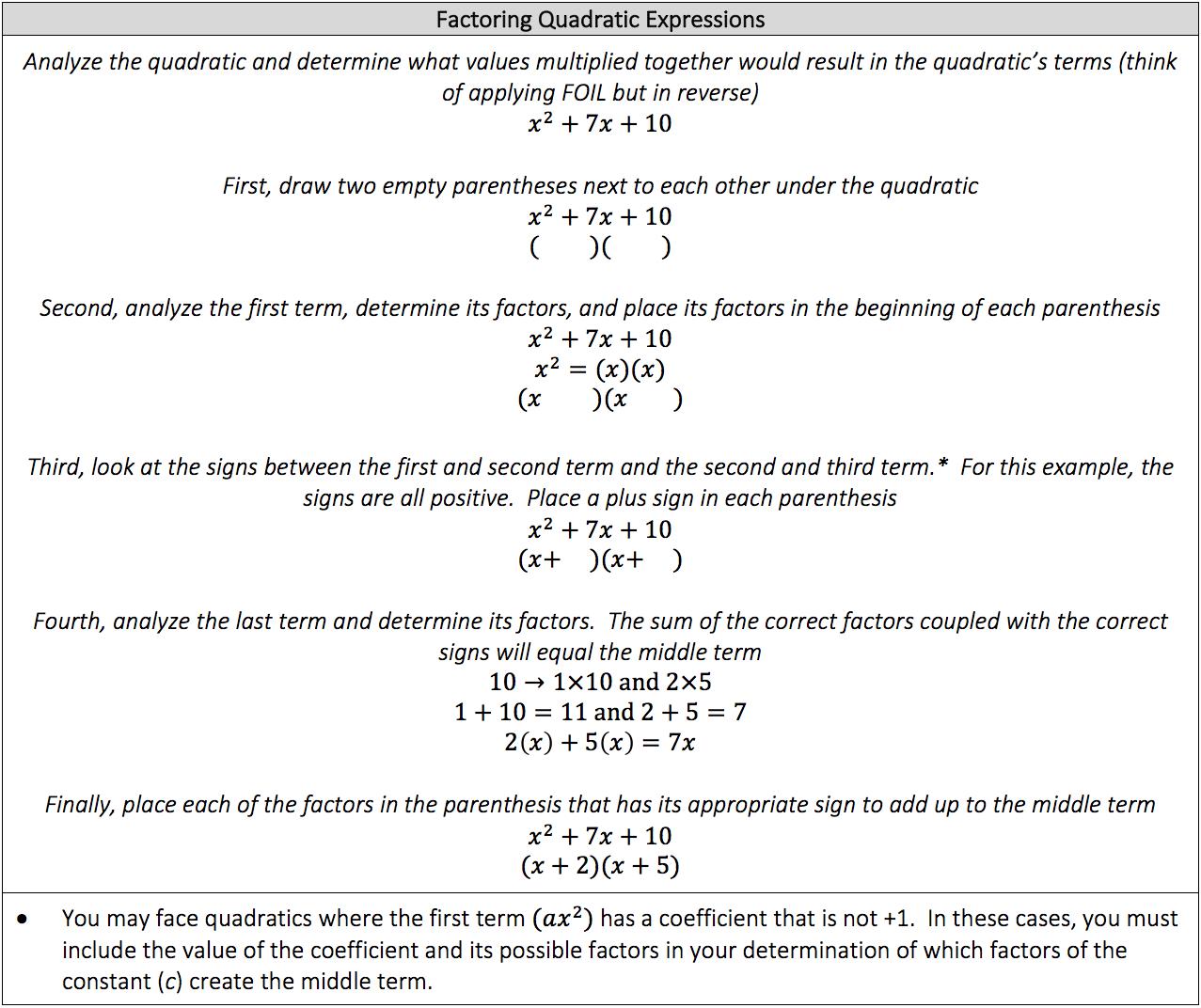 factoring-quadratic-expressions