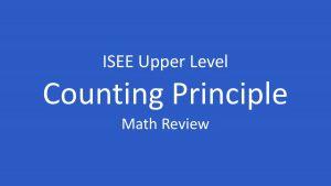 isee fundamental counting principle