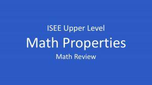 isee math properties