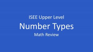isee number types cover