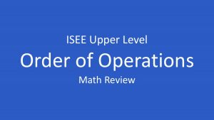 isee order of operations