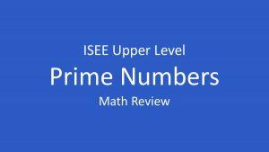 isee prime numbers