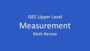 isee units of measurement