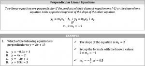 perpendicular inear equations