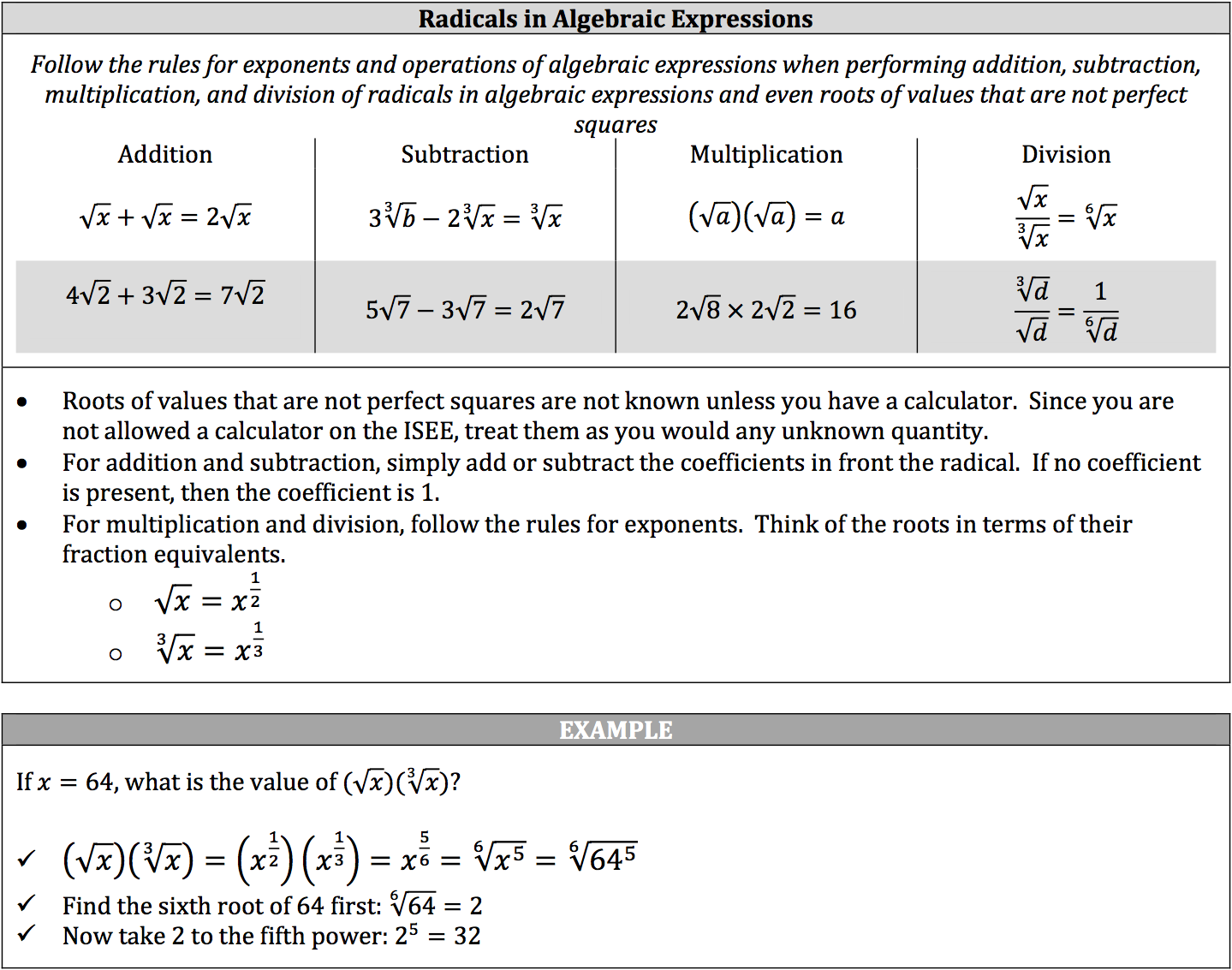worksheet Algebraic Expressions isee math review operations on algebraic expressions piqosity radicals in expressions