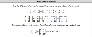 subraction of matrices