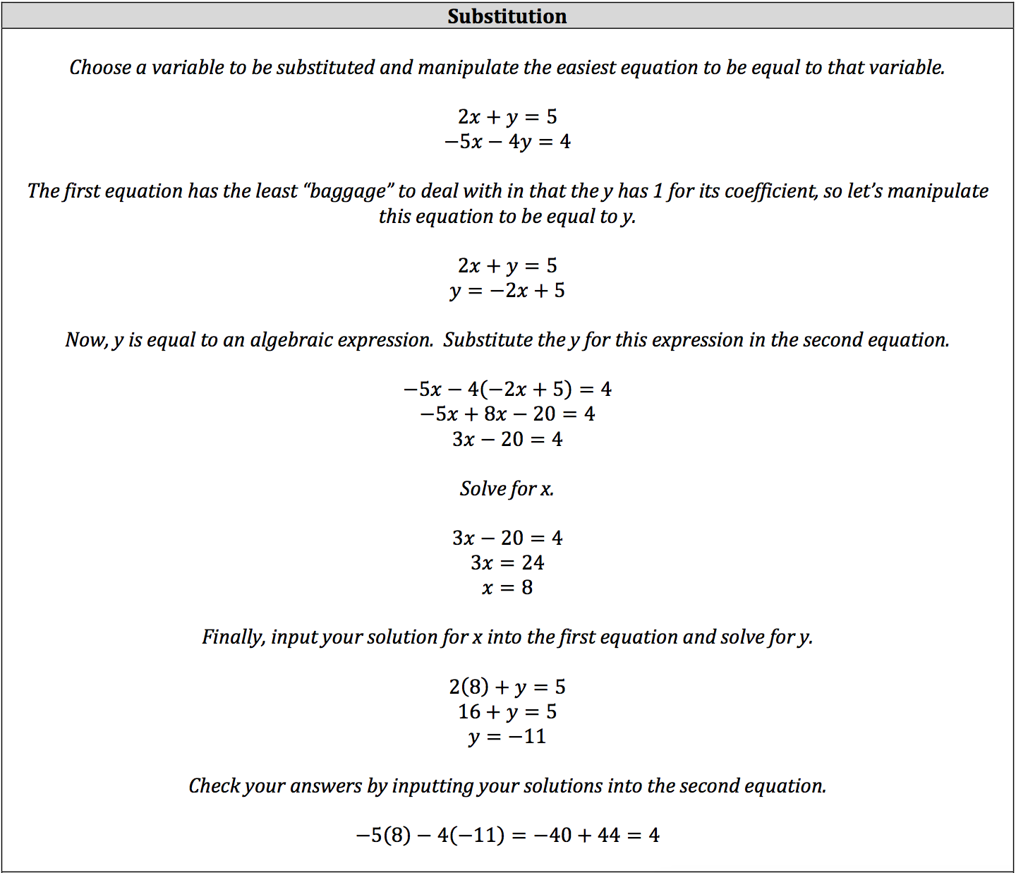 how to solve a system of linear equations by substitution
