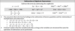 subtraction of algebraic expressions