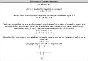 x intercepts of quadratic equations
