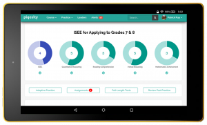ISEE Middle Level Practice Tests on tablet for Grades 7 & 8