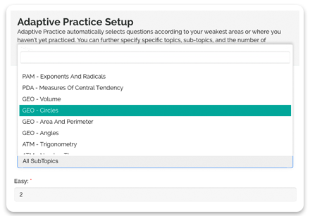 Personalized practice setup screen