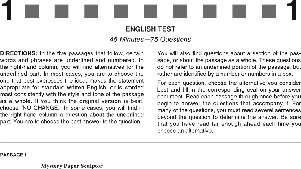 ACT Practice Test 2020 1874FPRE English Test Page 1