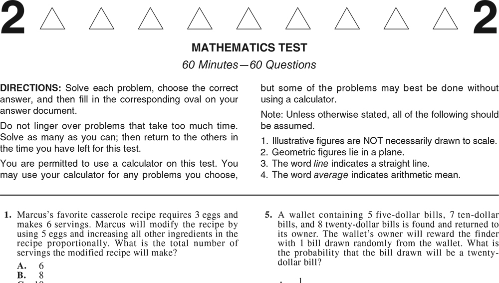 ACT Practice Test 2020 1874FPRE Math Test Page 1