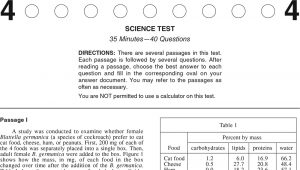 ACT Practice Test 2020 1874FPRE Science Test Page 1