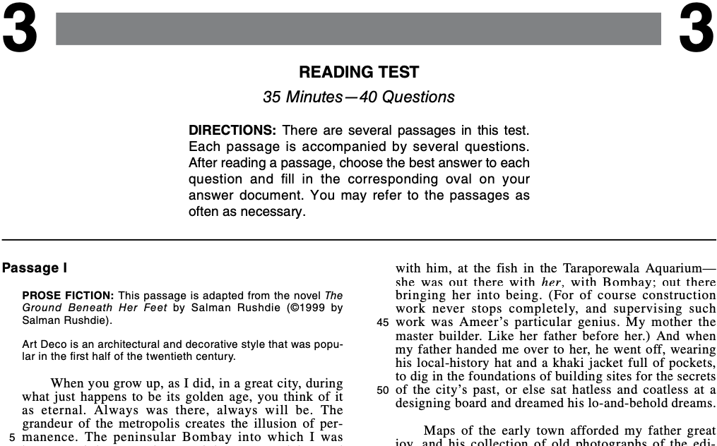 ACT Practice Test 2015-2019 1572CPRE Reading Test Page 1