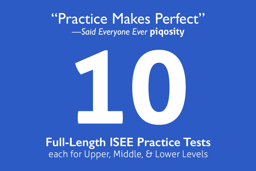Graphic showing 10 ISEE practice tests