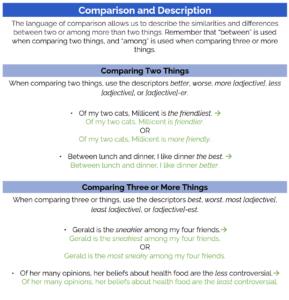 ACT grammar practice: comparison and description