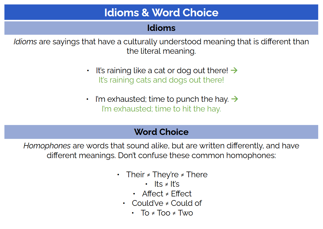 idioms and word choice