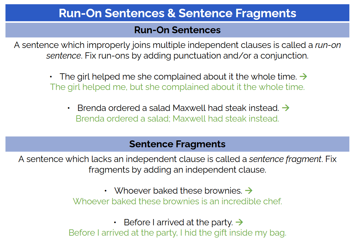 run on sentences and fragments