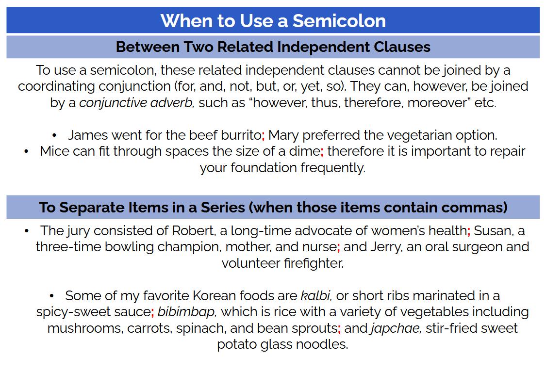 ACT grammar practice: semicolon usage