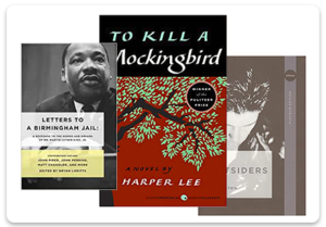 Book covers including To Kill a Mockingbird, Letters from a Birmingham Jail, and The Outsiders