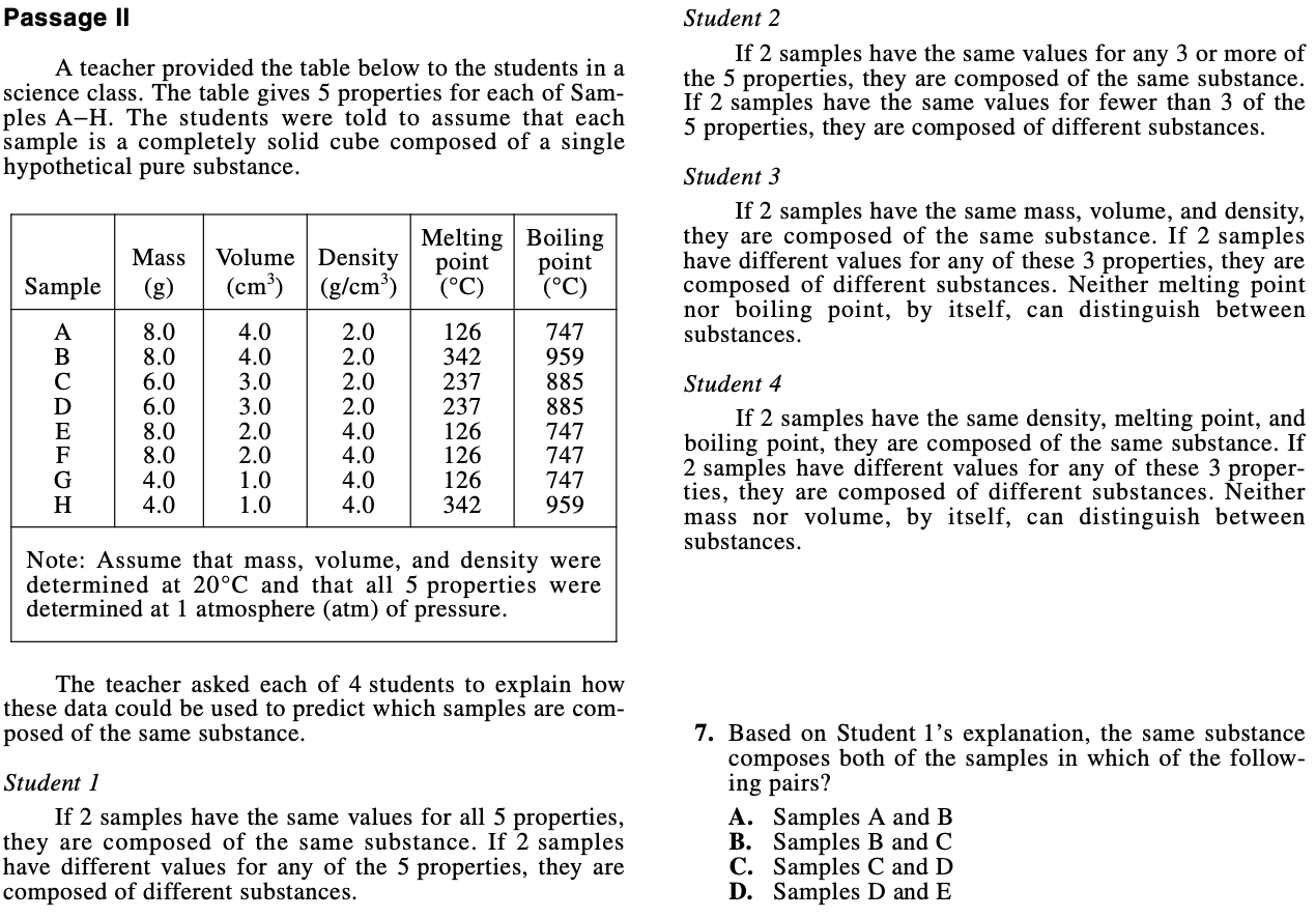 ACT Science 2021 Conflicting Viewpoints Example