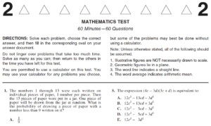 Page 1 of the ACT Math test Form 2176CPRE The numbers 1 through 15