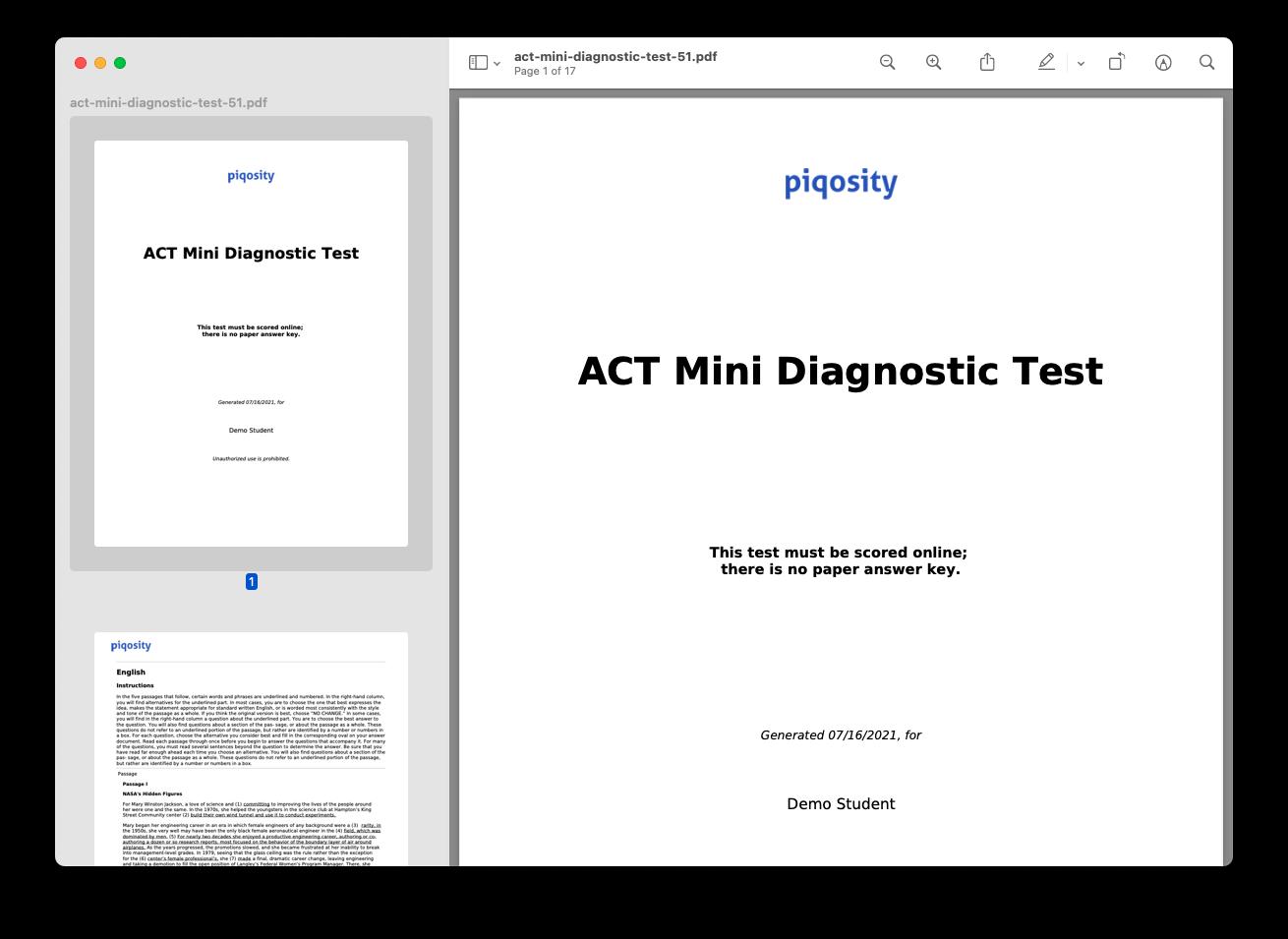 ACT Mini Diagnostic PDF Test