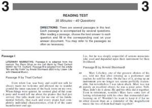Page 1 of the ACT Reading Test Form 2176CPRE Piano Shop on the Left Bank by Thad Carhart