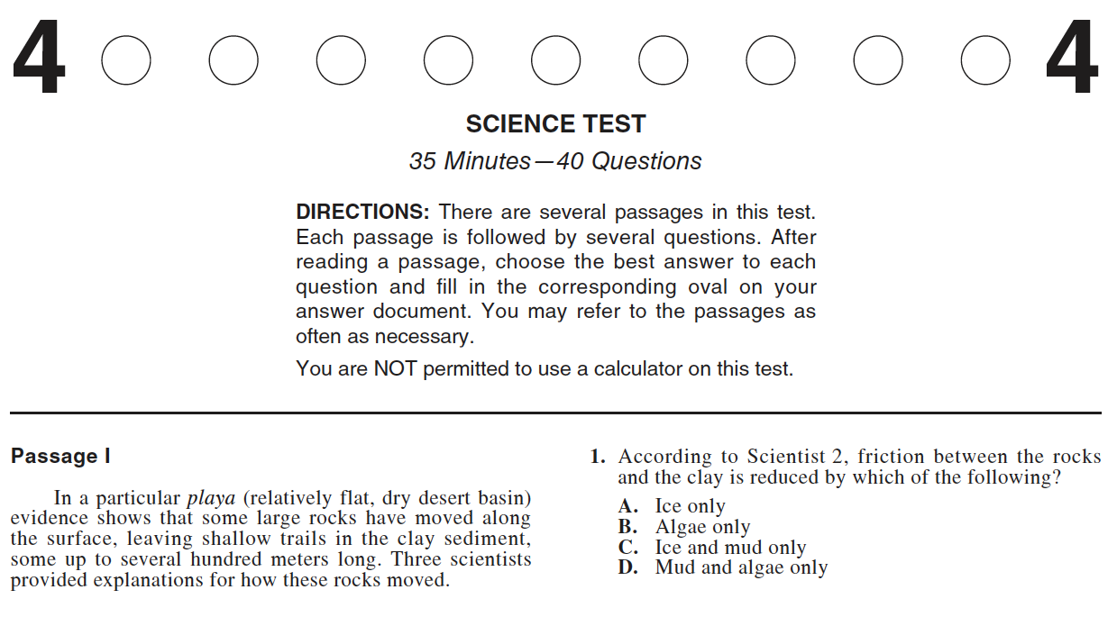 ACT Practice Test 2015-2019 1572CPRE Science Test Page 1