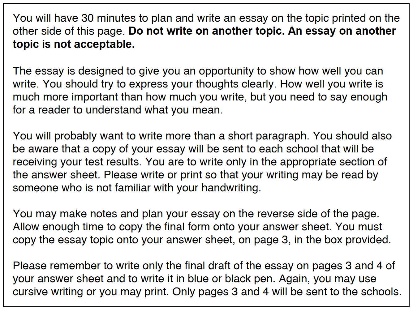 ISEE essay instructions